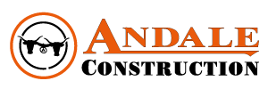 Andales construction logo for responsive layouts shows on main picture has white shadow behind it.
